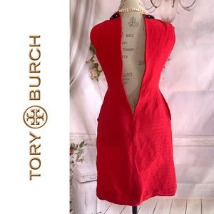 Tory Burch Red Textured Sleeveless Dress Size 2